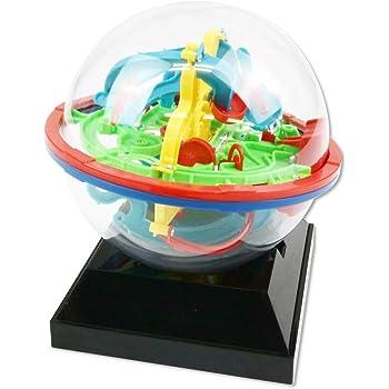 SAIRYO 3D迷路ボール [100ギミック] 教育玩具 こども用(小学生 園児) 知能ゲーム 室内遊びや 集中力トレーニング 脳トレにも 立体パズル ブレインメイズボール