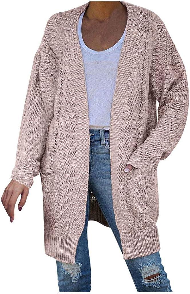 Cardigan Coat for Women Oversize Open Front Knit Cardigan Sweaters Long Sleeve Pocket Cardigan