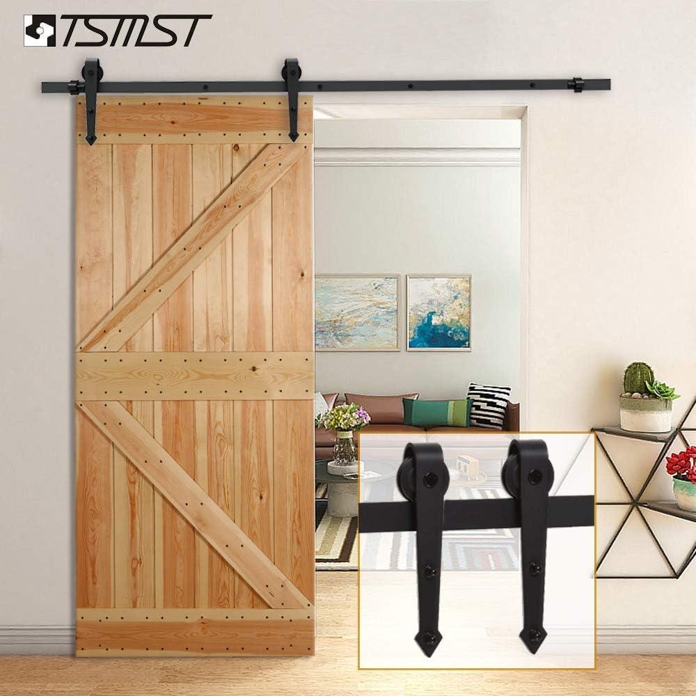 Arrow Shape Hanger Smoothly and Quietly,Fit 36 Door Panel TSMST 6FT Sliding Barn Door Hardware Kit for Single Door,Upgrade Version Easy Installation