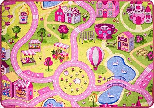 The Rug House Tapis de Jeu Enfant - Rose Ville, Rues, Fête Foraine Circuit de Route - 95cm x 133cm