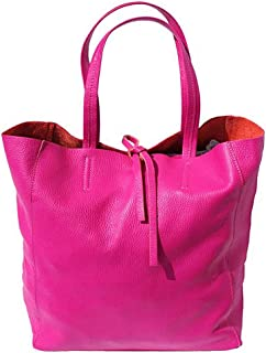 FLORENCE LEATHER MARKET Borsa donna fucsia a spalla in pelle 30x15x35 cm - Babila - Made in Italy