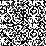 BeeTheOnly Reloj de Pared Celta intrincado Estilo Celta como celosía de Rejilla Trenzada sobre Fondo Blanco Dormitorio en Blanco y Negro Sala de Estar Cocina Reloj de casa