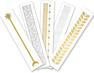 Arm Party Variety Set of 25 assorted premium waterproof bracelet metallic gold & silver jewelry temporary foil party Flash Tattoos, bracelet tattoo, temporary tattoo, party supplies