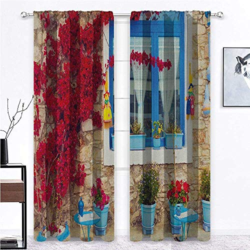 shirlyhome Coastal Black Out Curtains Italian Design Mediterranean House with Greek Windows Print for Bedroom Pale Brown White and Navy Blue - 27' x 45', 2 Rod Pocket Panels