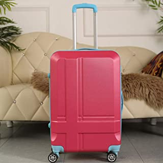Contrast Color Trolley Travel case Boarding case Suitcase Caster Student Luggage red 24 inch
