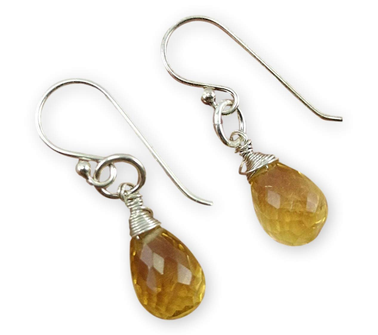 Citrine 925 Sterling Omaha Mall Silver Teardrop NEW before selling Yellow Gemstone Dr Earrings