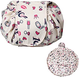 nuosen Lazy Makeup Organizer Storage Bag Cosmetic Jewelery Pounch Nylon Large Capacity Drawstring Portable Foldable Barrel Travel Accessories