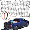 "4'x6' Super Duty Bungee Cargo Net for Truck Bed Stretches to 8'x12' | 16 Tangle-free D Clip Carabiners | Small 4""x4"" Mesh Holds Small and Large Loads Tighter"