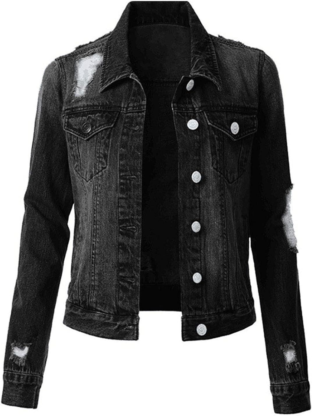 SCUSTY Women's Ripped Denim Jacket Long Sleeve Button Down Distressed Jean Jacket