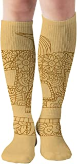 Retro Color Object Yellow Orange Adults Holidays Compression Socks Women And Men,Best For Nurses,Travel,Pregnancy,19.68 Inch