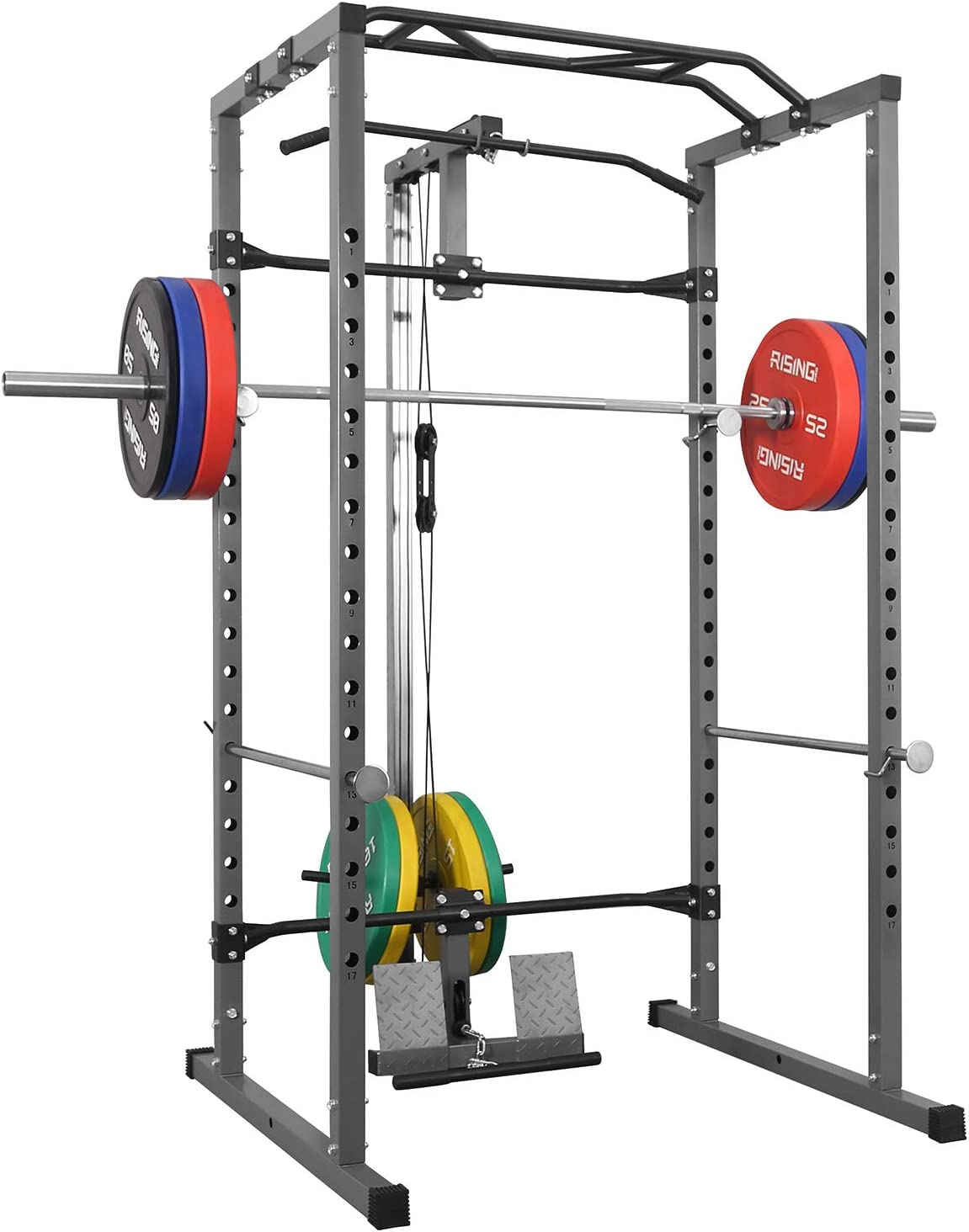 Kicode Power Squat Rack, Heavy Duty Multi-Function Power Cage Rack, Home Gym Exercise Bench Press Weightlifting Workout Station, Weight Capacity 1000 Pounds
