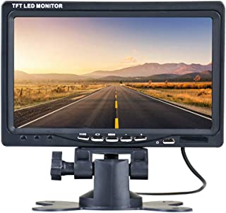 Thinlerain Mini 7 inch car Monitor, 800x480 Backlight TFT LCD HD Color Screen for Car Rear View Cameras, Car DVD, Surveillance Camera with Stand, Remote Control and 2 AV Input.