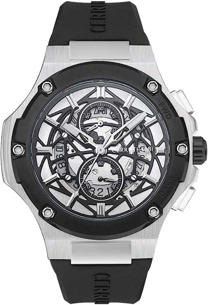 Cerruti,orologio,cronografo per uomo,in acciaio inossidabile con  placcatura ionica e cinturino in silicone CRA29804