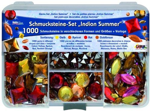 Kreul 49642 - Schmucksteine Set Indian Summer, zur Gestaltung von modischen Accessoires und Home Deco, 1000 Steine in den Farben gelb, apricot, rot und goldbraun, in verschiedenen Formen und Größen