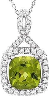 Mia Diamonds 14k Yellow Gold 8mm Peridot bezel pendant