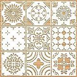 9 Pezzi 12 x 12 Pollici Stencil di Mandala Stencil da Parete Geometrico Stencil Modello Grande di Pittura Stencil Murale Riutilizzabile per Decorazione a Piastrelle Mobili Pavimento Legno