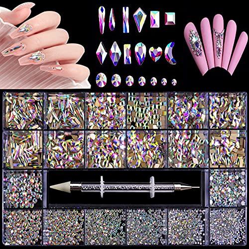Nail Art Rhinestones Kit 3100st,3D Mix Nail Art Rhinestone Crystals 12 Typer av specialformade diamanter Nail Rhinestones för akrylnaglar,HOINCO Nail Crystal Kit med borrpenna