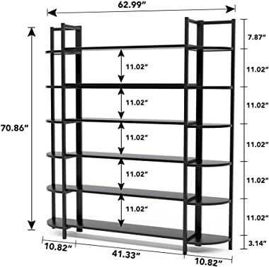 Tribesigns Triple Wide 6-Shelf Bookshelves, 6-Tier Large Etagere Bookcase Bookshelves Storage and Double Wide Bookshelf Display Shelves with Sturdy Metal Frame for Home Office Deco,Black