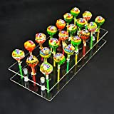 MENGCORE 21 Hole Acrylic Cake Pop Lollipop Clear Pink Display Stand Server Decoration Display Stand Holder Base Shelf (21 Hole)