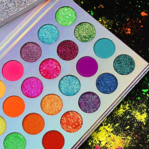 Neon Colorful Eyeshadow Palette Glitter Matte,Afflano Pro UV Glow Blacklight Luminous Highly Pigmented Eyeshadow Pallet,Silky Rainbow Blue Red Orange Purple Green Glam Bright Eye Shadow Makeup Palette