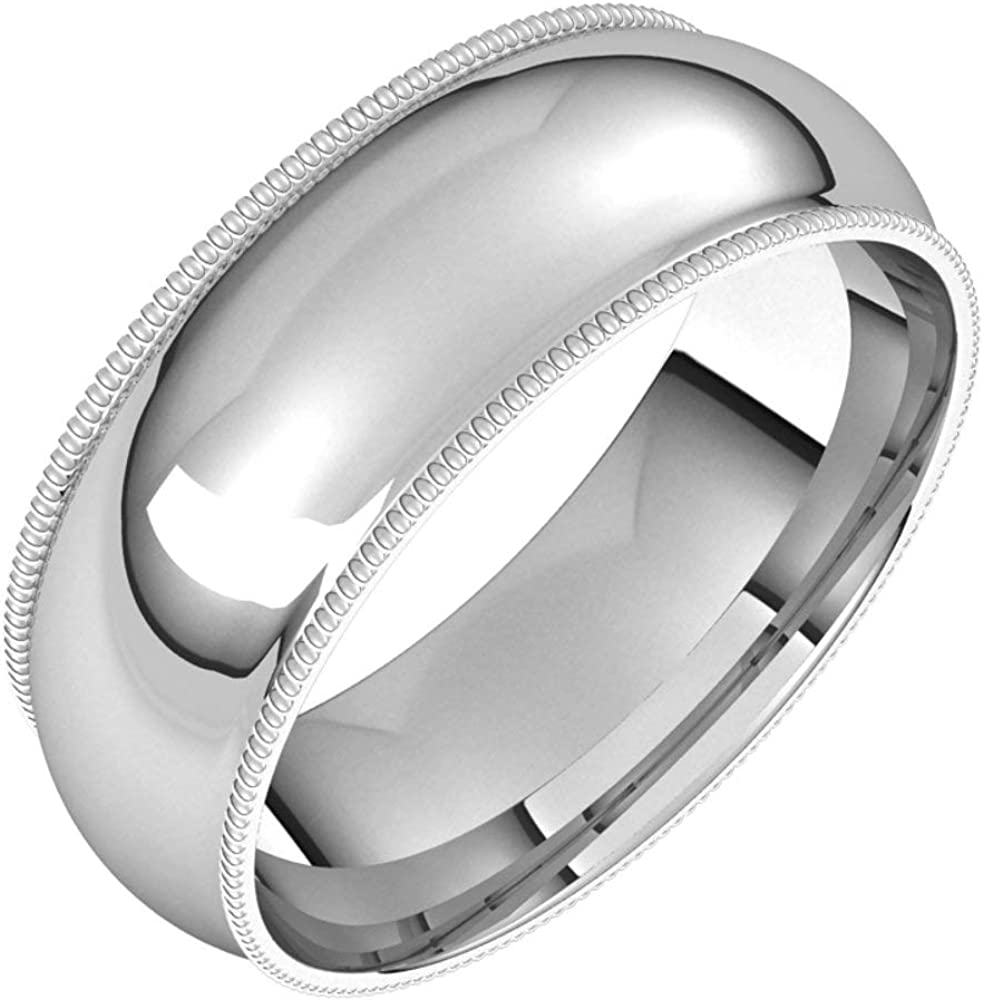 Platinum 7mm Milgrain Comfort Fit Size Tulsa Mall Bridal Bombing new work Band Ring Wedding