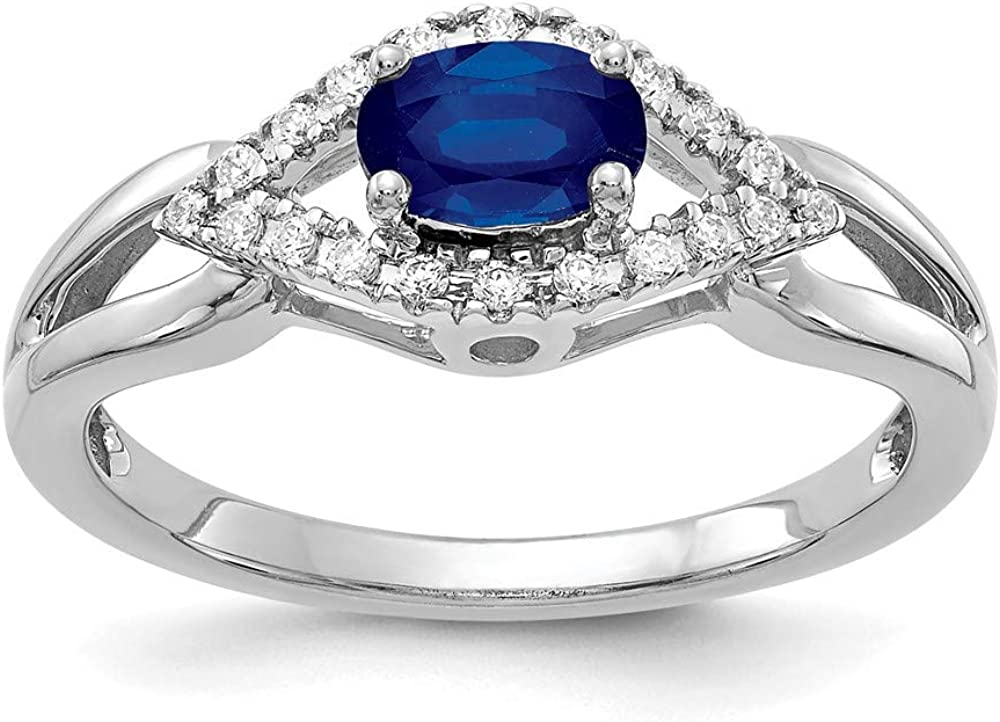 14k White Gold Diamond Sapphire Band Ring Size 7.00 Birthstone September Gemstone Fine Jewelry For Women Gifts For Her