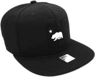 LAFSQ California Republic Bear Logo Rubber Patch Flat Bill Snapback Cap