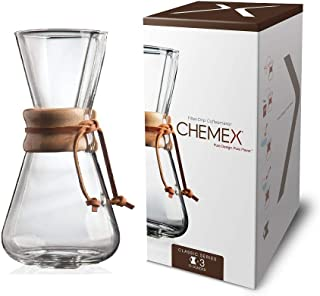 Chemex Hand Blown, Pour-Over Glass Coffeemaker, 3-Cup - Exclusive Packaging