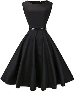 VOGVOG Fedie Women Boatneck Sleeveless Vintage Tea Cocktail Dress with Belt Size S-4XL