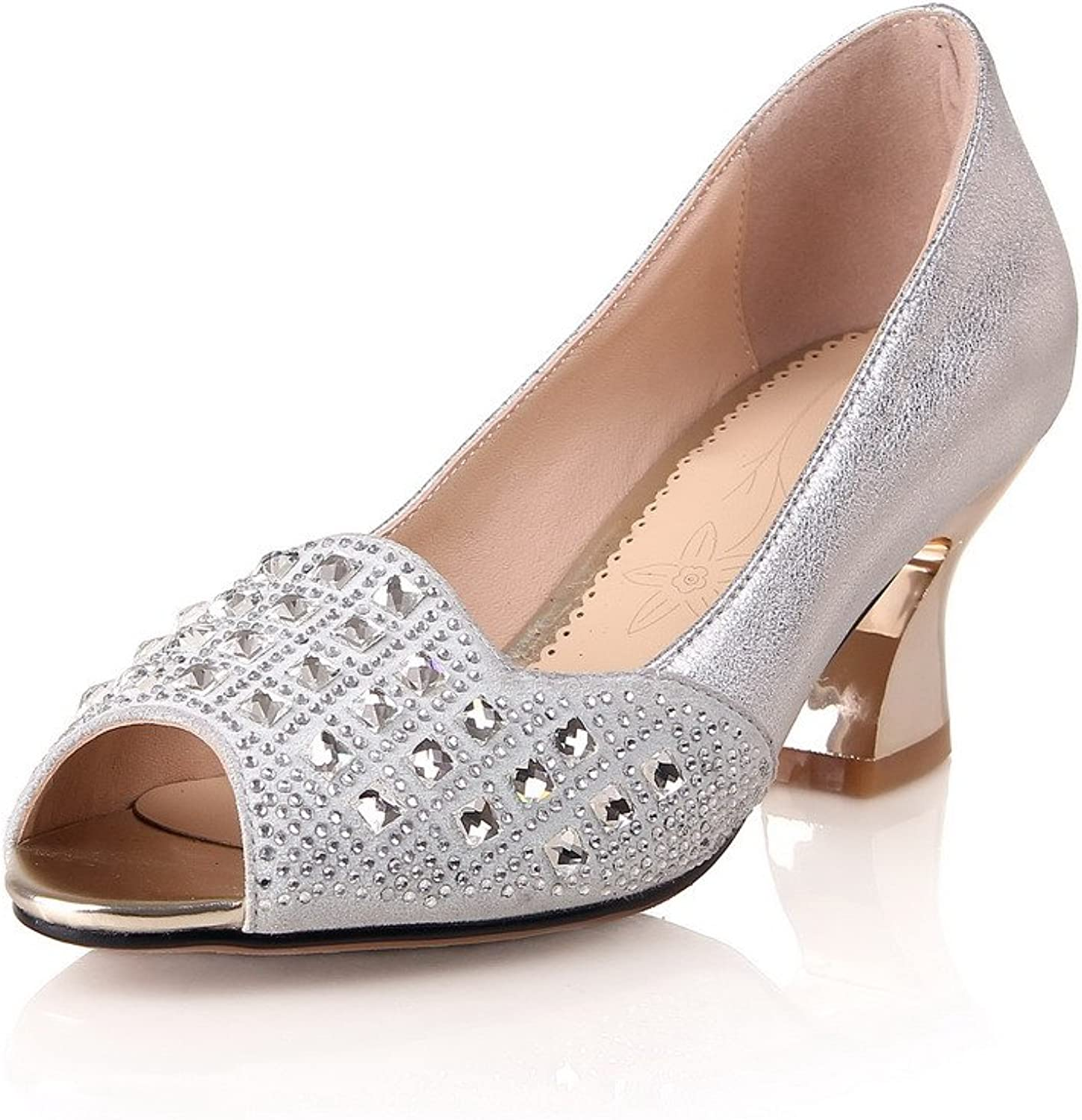 AllhqFashion Women's Peep Toe Cow Leather Kitten Heels Solid Sandals with Studded Rhinestones