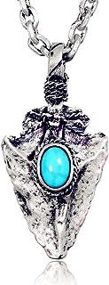 Acmelion Necklace Men`s Flint Arrowhead Necklace,Women`s Indian style jewelry Retro Copper tophus arrow Pendant