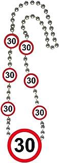 NET TOYS 30. Geburtstag Kette Verkehrsschilder Geburtstagskette mit Medaillon Partykette Party Zubehör Jubiläum Halskette Geburtstagskind Geburtstagsgag Verkehrsschild Zahlenkette