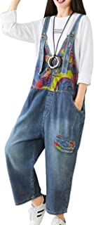 YESNO Women Casual Loose Graphic Printed Denim Overall Jumpsuit Scratched Distressed Pocket Flap Bib Pants Pockets PQF