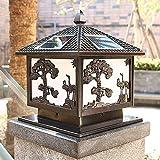 Faros solares cuadrados de columna de estilo japonés, faros de columna de panel solar impermeable, lámparas de piso en la puerta de la villa de la terraza de la pared del jardín