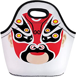 Semtomn Lunch Bags Ancient Black Beijing Traditional Chinese Opera Mask Red Face Neoprene Lunch Bag Lunchbox Tote Bag Portable Picnic Bag Cooler Bag
