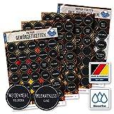 130 Gewürze Etiketten Aufkleber - rund - schwarz/weiß - Gewürzetiketten selbstklebend - wasserfest - Gewürz Sticker - 38mm - für Gewürzgläser, Dosen und Regale - Feinschmecker Edition (weiß/schwarz)