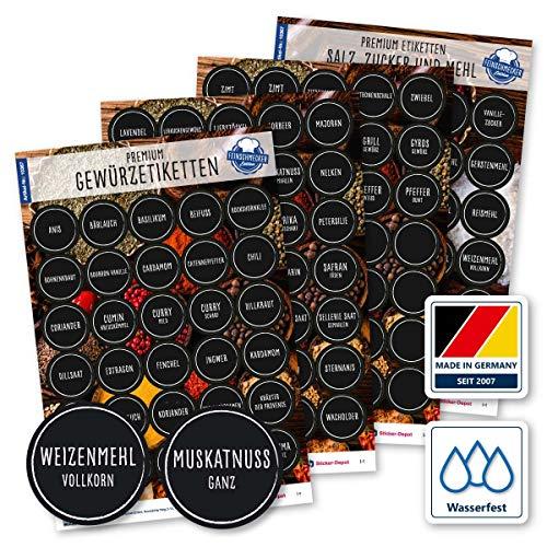 130 Gewürze Etiketten Aufkleber - rund - schwarz/weiß - Gewürzetiketten Selbstklebend - Wasserfest - Gewürz Sticker - 38mm - für Gewürzgläser, Dosen und Regale - Feinschmecker Edition (weiß / schwarz)
