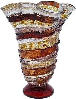 GlassOfVenice Murano Glass Sbruffo Fazzoletto Vase - Golden Brown Purple