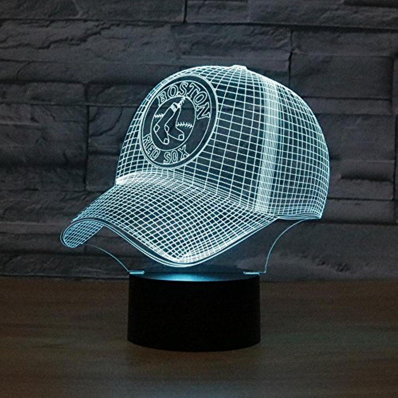 Lozse 3D Nightlights, Boston Baseballkappe 3D-Lichter bunten Touch-LED visuelle Geschenk Lampen Lampe, Bestees Geschenk für Freunde Kinder