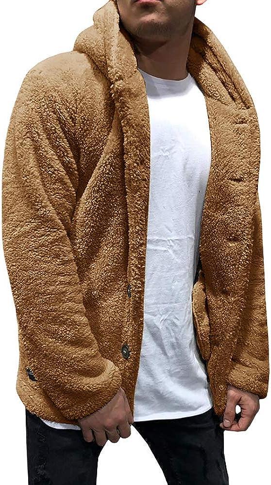 Karlywindow Mens Sherpa Fleece Jacket Hooded Open Front Winter Warm Fuzzy Cardigan