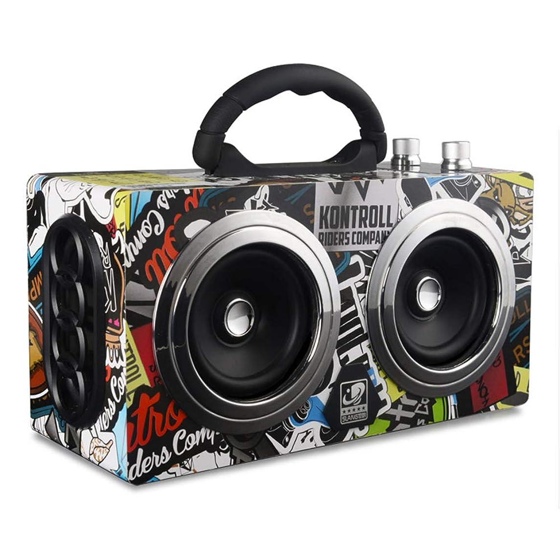 ZUKN Wireless Wooden Bluetooth 4.0 Speaker 20W Bass Portable Mini Outdoor Stereo Subwoofer Retro Speaker with FM Radio Support TF