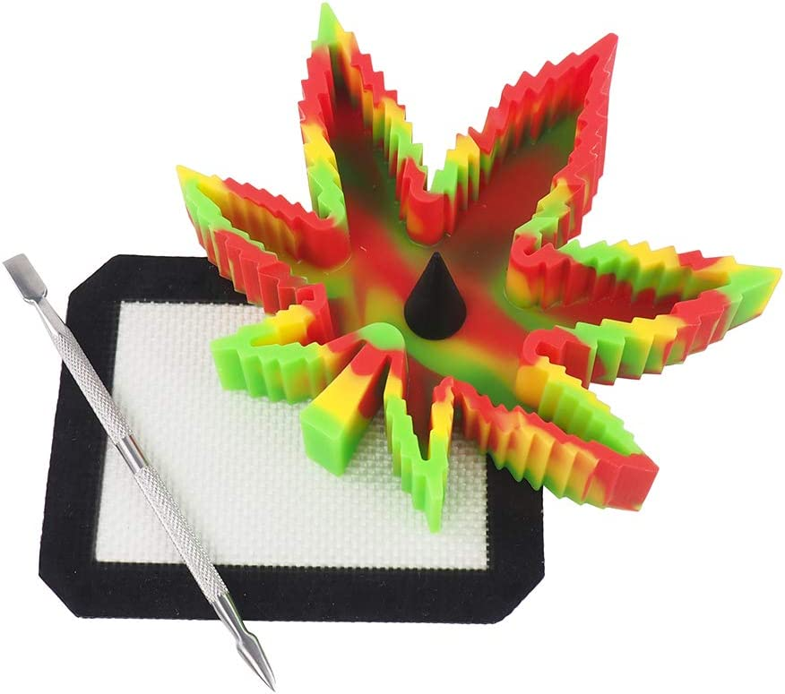 1 Stainless Steel Carving Tool topjar Camouflage Non Stick Silicone Leaf Ashtray Unbreakable Heat Resistant Tray Specialty Set for Sticky Arts /& Crafts 1 Non Slip Silicone Wax Mat