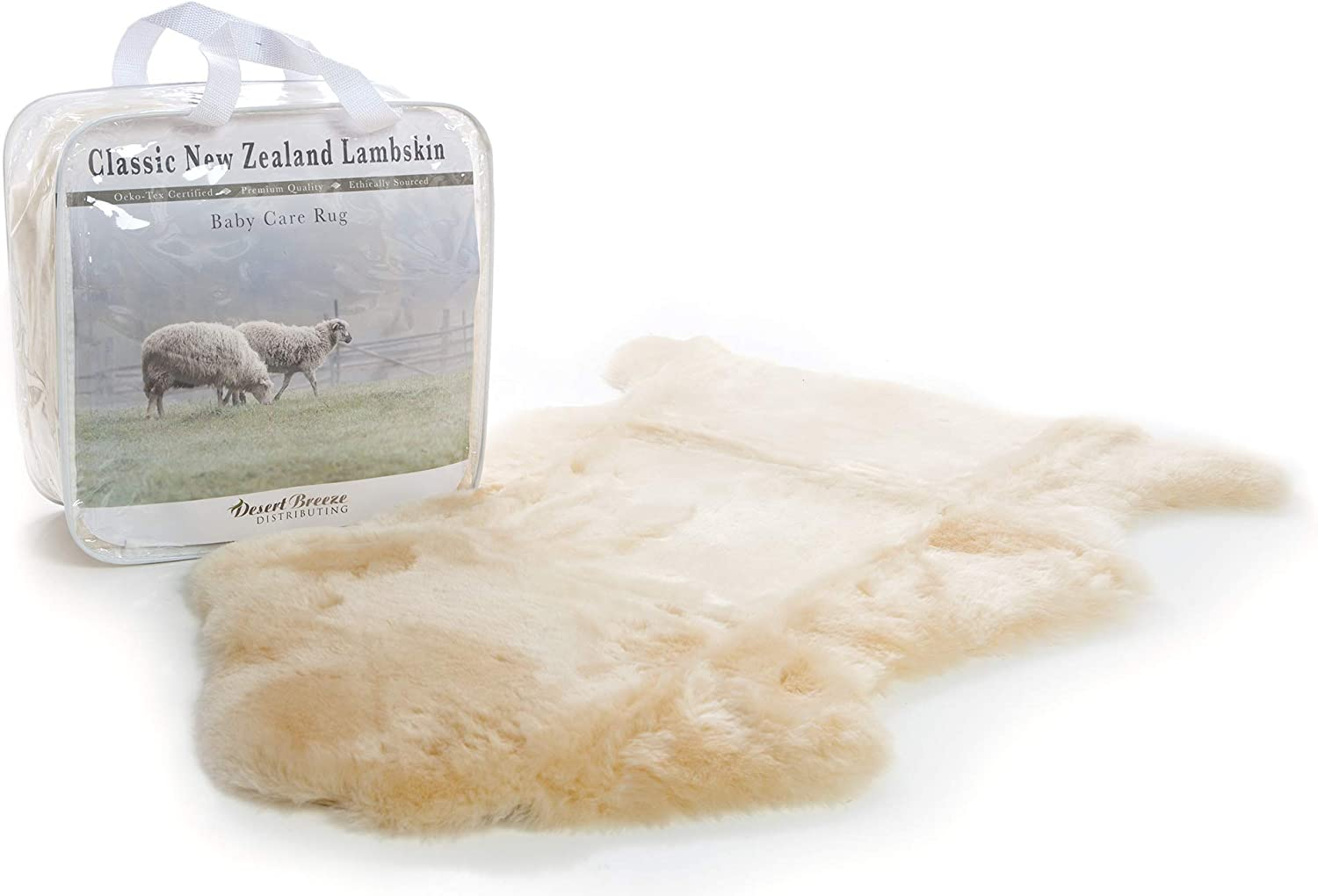 New Zealand Classic Lambskin, Ethically Sourced, Shorn Wool, Soft and Natural Sheepskin Baby Care Rug, Premium Quality, Size LRG 34-36 inches