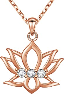 LINLIN FINE JEWELRY 925 Sterling Silver Yoga Om Lotus Flower Pendant Necklace Inspirational Gift for Women Girls,18 inch