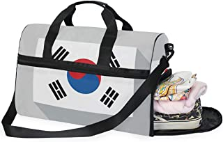 Travel Tote Luggage Weekender Duffle Bag, Hot Flag Large Canvas shoulder bag with Shoe Compartment