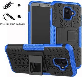 LiuShan Galaxy A6 2018 Funda, Heavy Duty Silicona Híbrida Rugged Armor Soporte Cáscara de Cubierta Protectora de Doble Capa Caso para Samsung Galaxy A6 2018 Smartphone,Azul