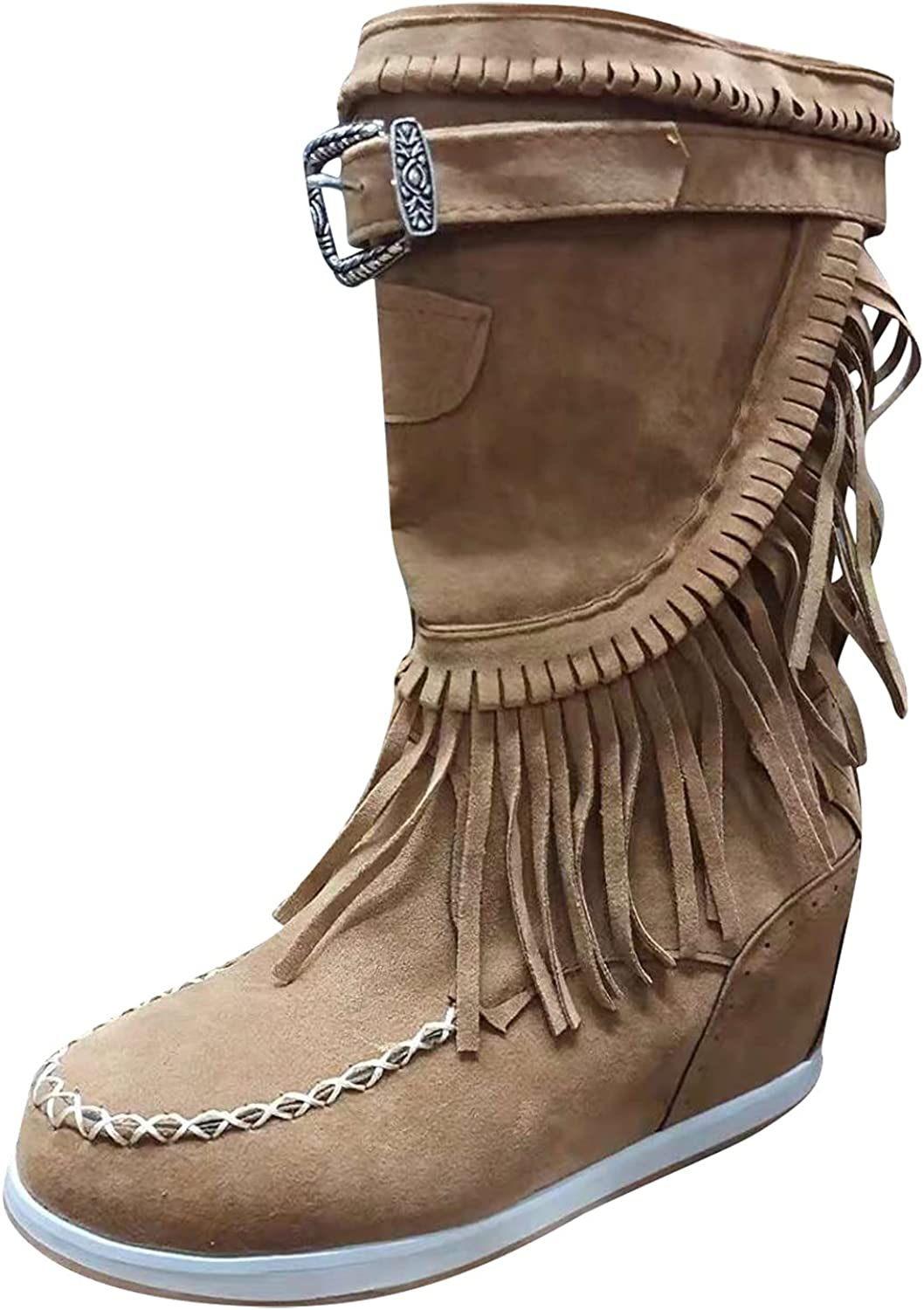 ZiSUGP Womens Platform Mid Calf Boots Tassel Retro Chelsea Boots Fashion Comfortable Cowboy Boots With Zipper for Ladies Girls