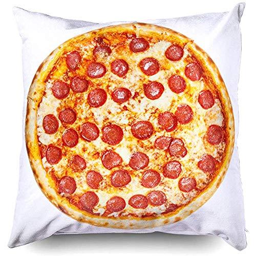 Nap Pillow Case 45X45Cm Fodere per cuscini deliziosi classici italiani Pizza ai peperoni con salsiccia Formaggio Mozzarella isolata sul retro bianco per