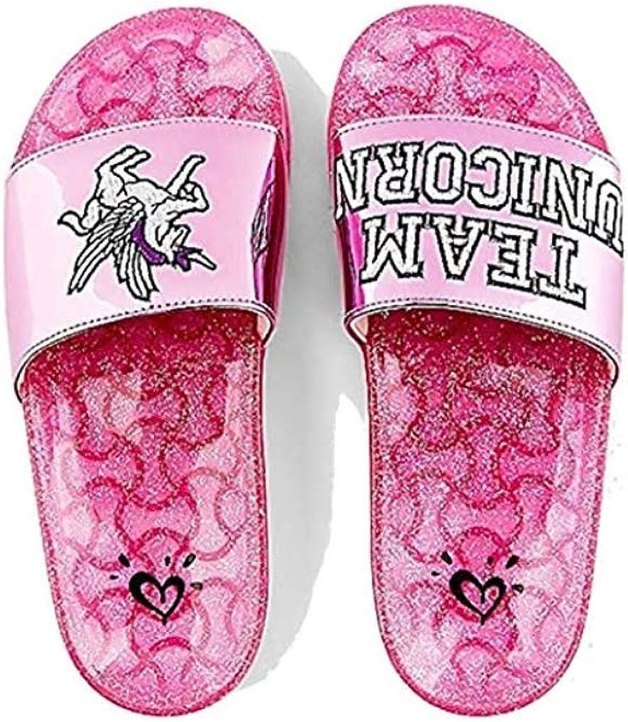 Justice Slide Sandals Unicorn Glitter Pink