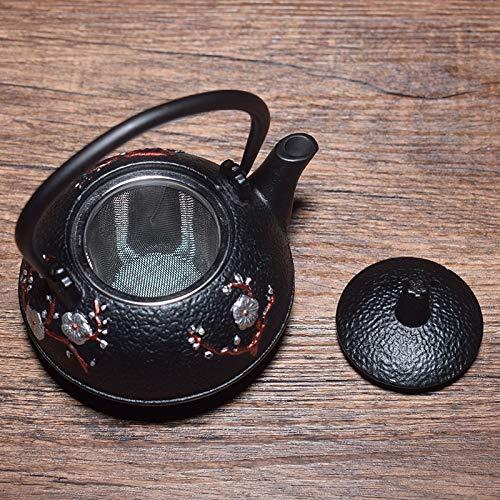 XHCP Tetera cerámica 300 ml pequeña tetera de hierro fundido negro con infusor extraíble de acero inoxidable, estilo tetsubin como regalo